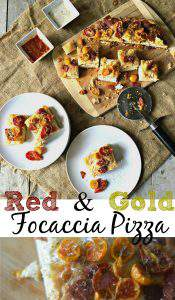 Red & Gold Focaccia Pizza Appetizer
