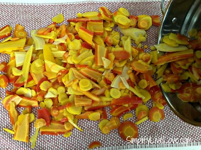 dry carrots as best you can by putting them on a towel
