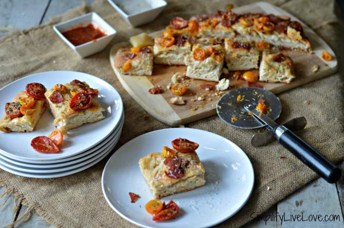 red and gold focaccia pizza