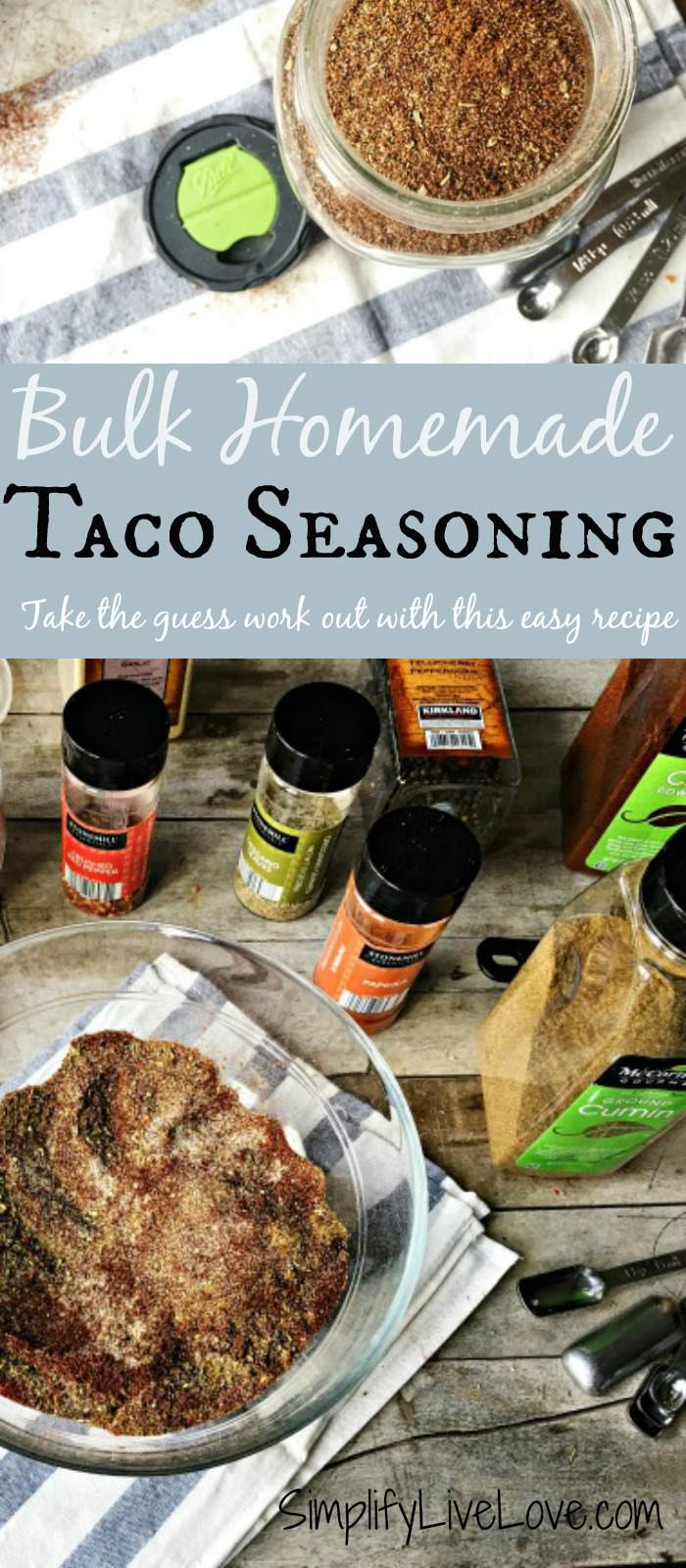 Bulk homemade taco seasoning. Take the guess work out of your math with this easy recipe that makes enough for 16 pounds of meat in one easy recipe. Save time by making your homemade seasoning mix in bulk and store the rest in an airtight jar in your pantry.