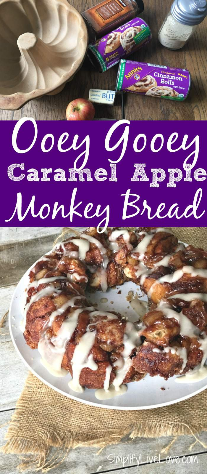 This caramel apple monkey bread made with Annie's Homegrown Organics, features chunks of apples and easy homemade caramel to make an ooey gooey delicious treat your family will love! If you like Annie's Homegrown - you will want to watch this video too! So cute--> https://ooh.li/90a8502 #ad #yumforall #annieshomegrown