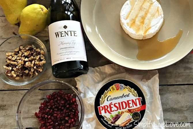 easy baked camembert-with-pomegranates-and-hazelnuts