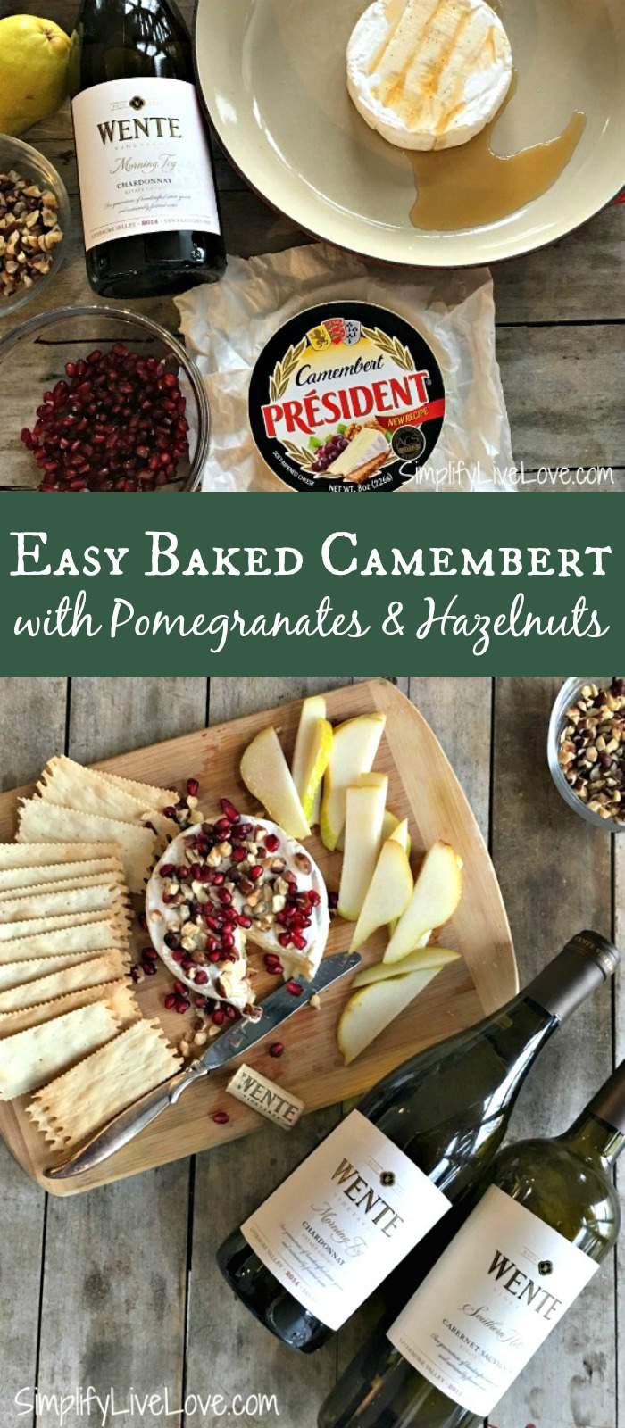 Easy Baked Camembert with Pomegranates and Hazelnuts makes a fabulous appetizer that's as delicious as it is quick! Perfect for your holiday gathering or friend party! #appetizer #camembert #bakedcheese #holidayappetizer #quickappetizer