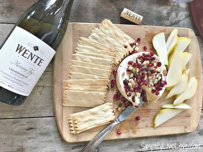 Easy Baked Camembert with Pomegranates and Hazelnuts
