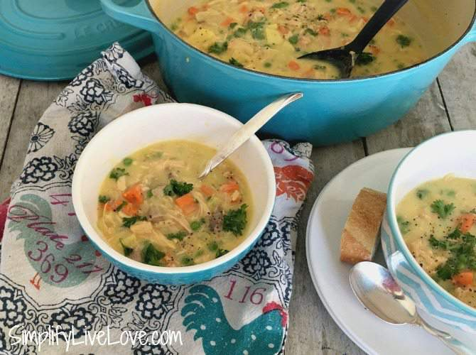 This recipe for immune boosting creamy chicken stew is so amazing! It's a delicious and hearty soup perfect for cold weather.