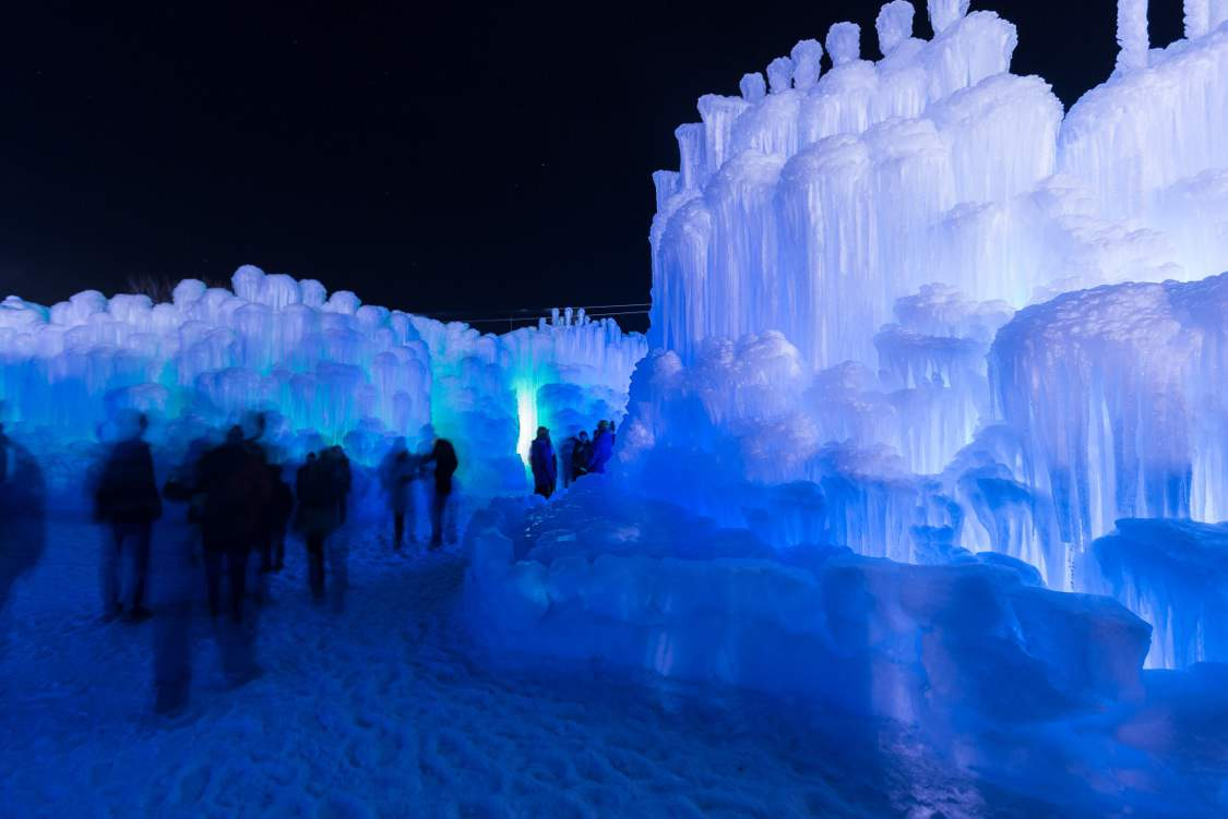 Ice Castles at Night in Heber Valley Utah