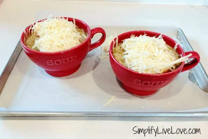 Top French Onion Soup with bread and cheese and melt in the oven.