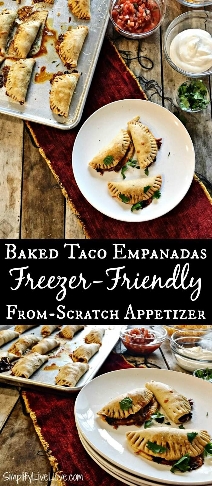 A delicious appetizer - perfect to make ahead and serve at parties or for dinner as well, these freezer friendly Baked Taco Empanadas are fun and tasty! #gamedayappetizer #tacotuesday #freezerfriendlyrecipe