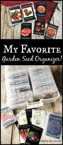 My favorite way to store garden seeds is in this garden seed organizer.