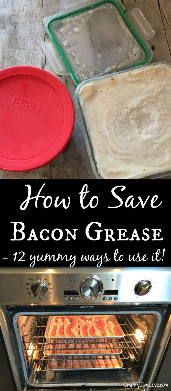 How to Save Bacon Grease & 12 yummy ways to use it.! It's easy to batch cook bacon and save the bacon grease and you will love these delicious ideas for how to use the grease!