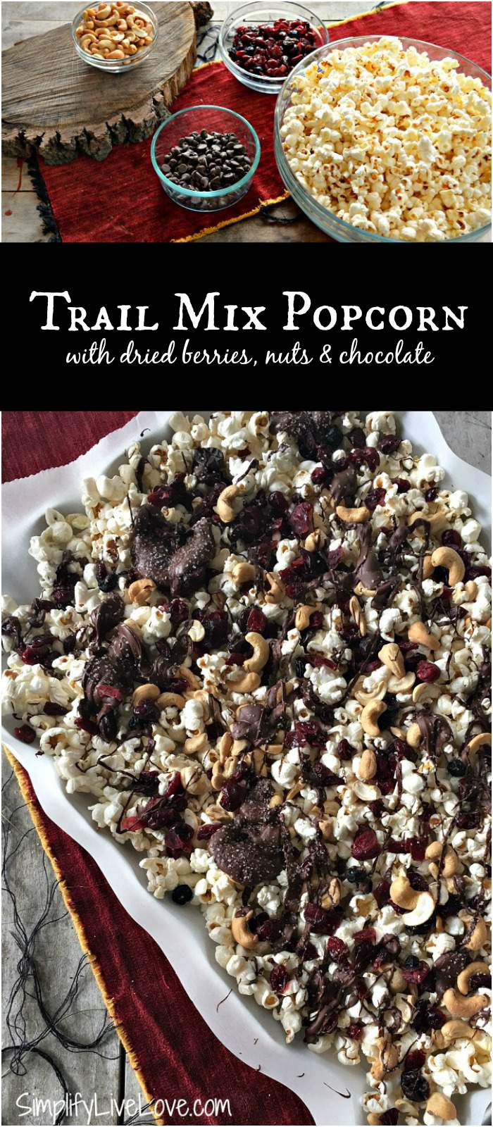 Trail Mix Popcorn with dried fruit, nuts, and chocolate. A quick, healthy, and easy snack your kids will love!