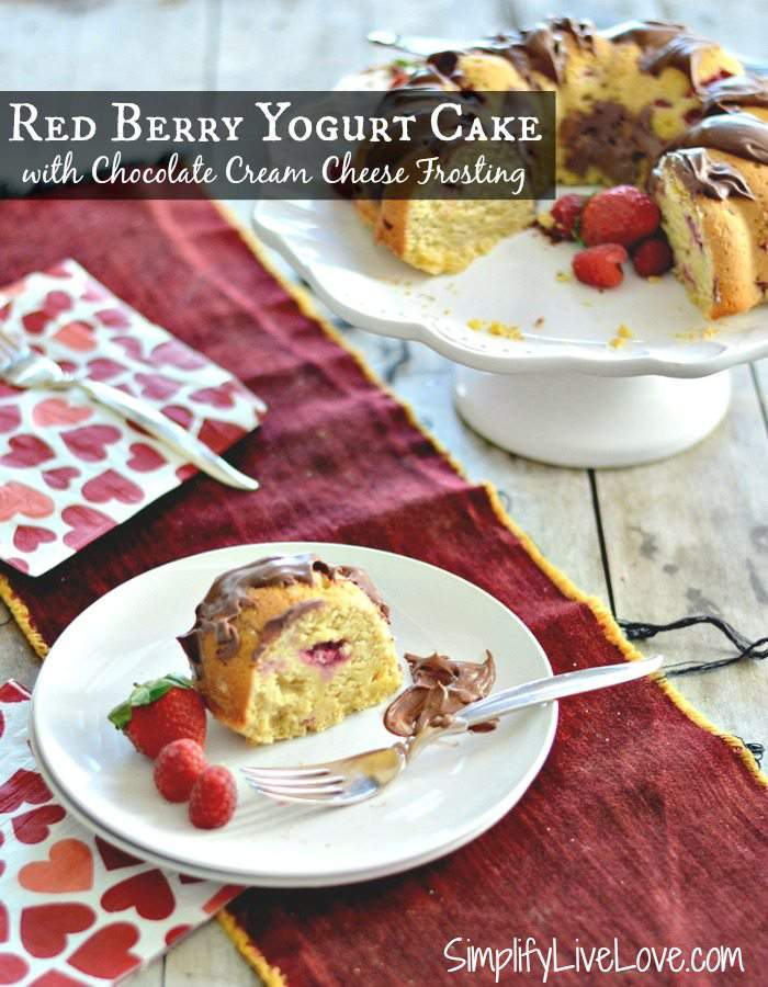 Looking for a delicious dessert or brunch recipe for Valentine's Day? This Red Berry Yogurt Bundt Cake with Chocolate Cream Cheese Frosting is delish!