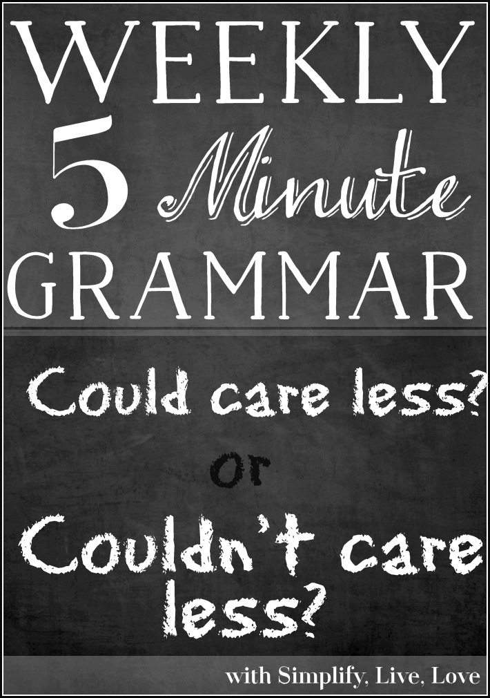 Today's 5 Minute Grammar Lesson answers the question - is it proper to say could care less or couldn't care less? Check back each Sunday for a new topic.