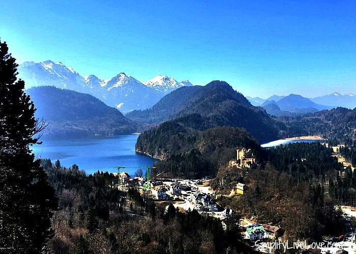 Hohenschwangau and the Bavarian Alps and lake from the Neuschwanstein Castle.