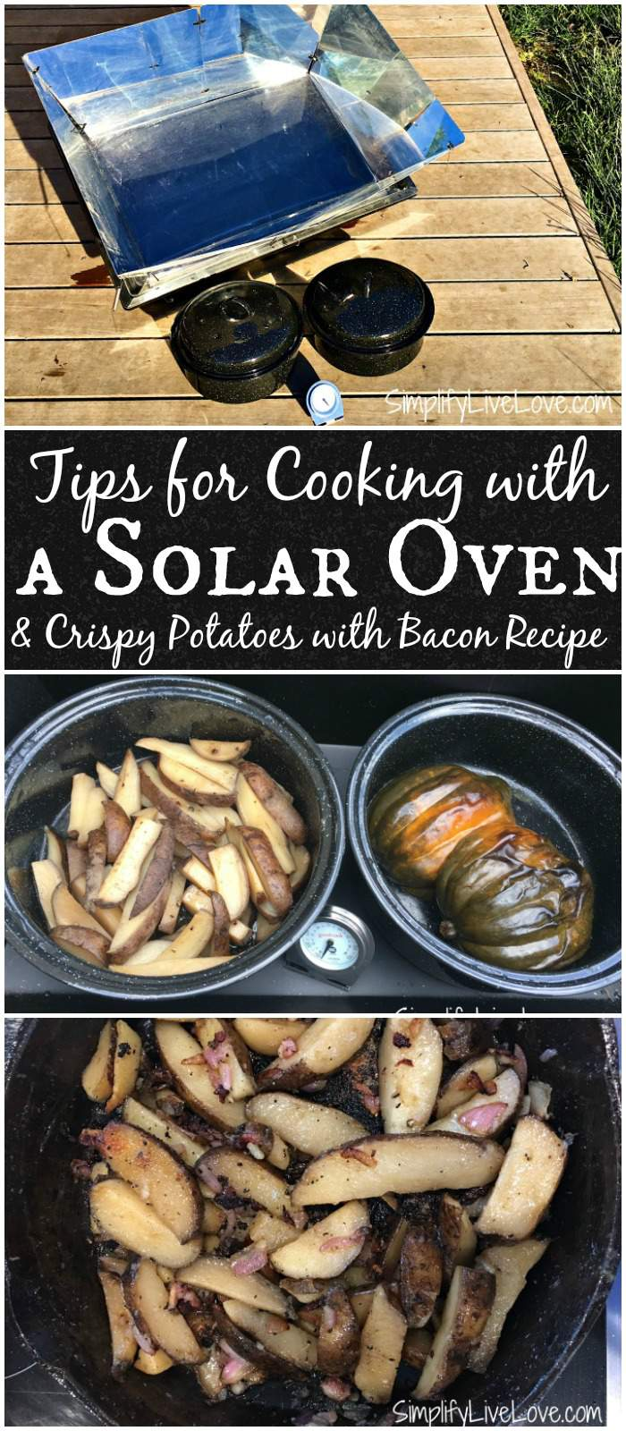Tips for cooking with a solar oven and a recipe for crispy potatoes with bacon