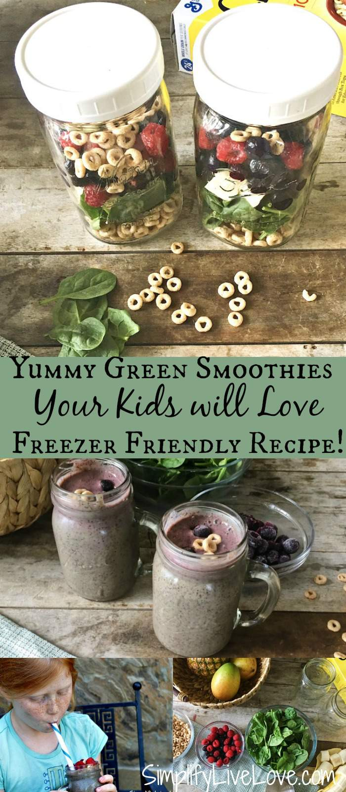 Yummy green smoothies your kids will love. Plus tips for how to freeze smoothies in glass jars.