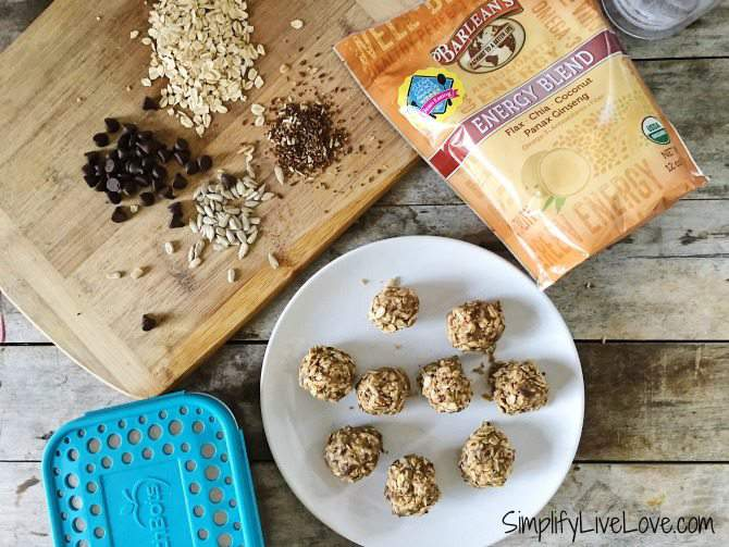 No-Bake Honey Sunflower Butter Energy Balls w chocolate