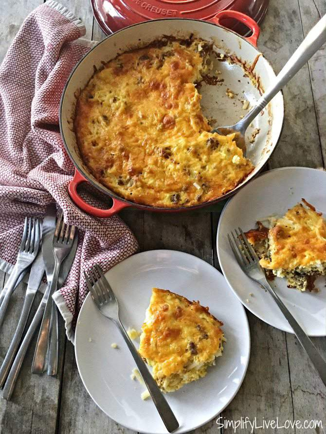 Featuring sausage, hash browns, farm fresh eggs, this Overnight Breakfast Casserole recipe yields a delicious breakfast that's not mushy.  It's always a hit on Christmas Morning, for brunch, and even breakfast for dinner. With a 10 minute prep and 5 easy ingredients, the cook will appreciate this easy breakfast casserole recipe. #breakfastcasserole #dinnerforbreakfast #eggcasserole #christmasmorningbreakfast