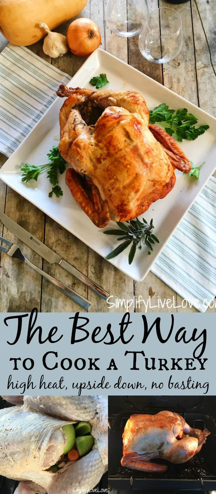 The most delicious turkey you will ever eat! Throw out what you've heard about cooking turkeys, and try high heat and upside down cooking this year! You will love not having to baste your turkey. #thanksgiving #turkey #christmasmeal