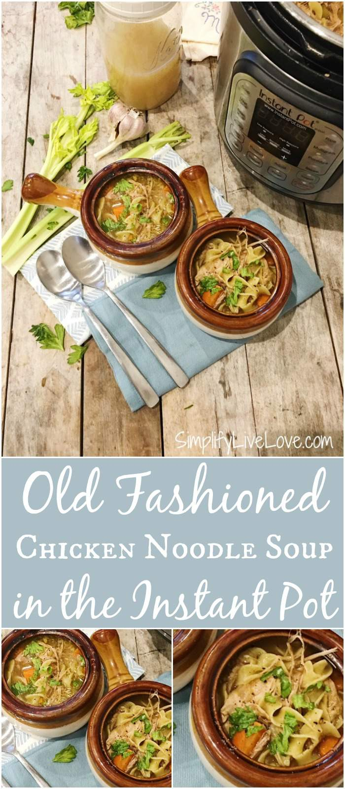 Looking for a good old fashioned chicken noodle soup Instant Pot recipe? Look no further! This easy, immune boosting recipe will be a household hit! Four minutes under pressure is all it takes!