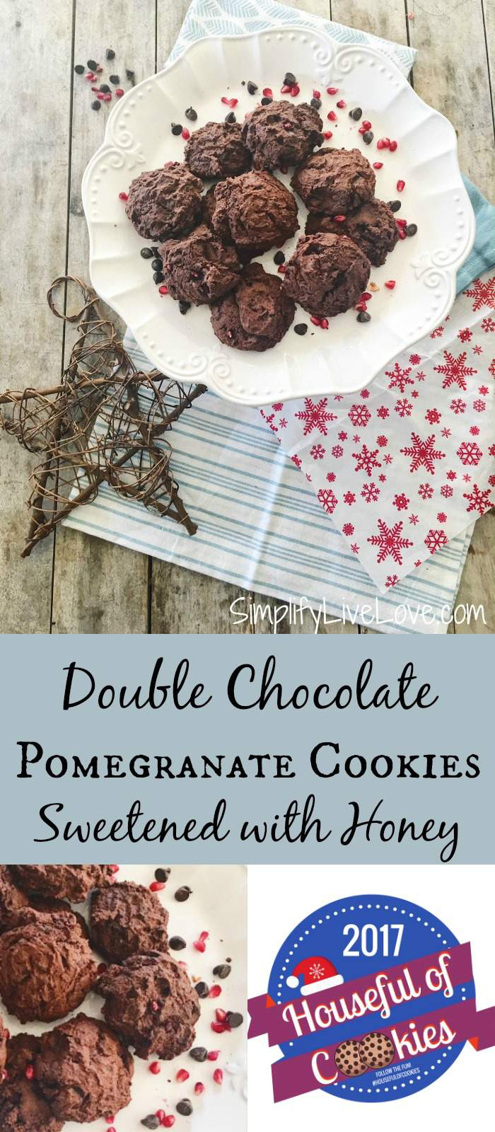 These double chocolate pomegranate cookies are sweetened with honey instead of sugar and are a rich, delicious treat! Learn how to make them here.