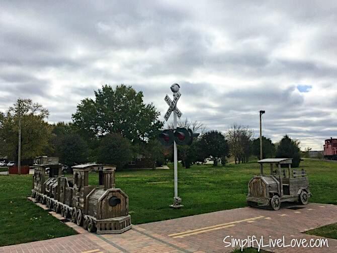 Wooden train playground in Eldon, Iowa