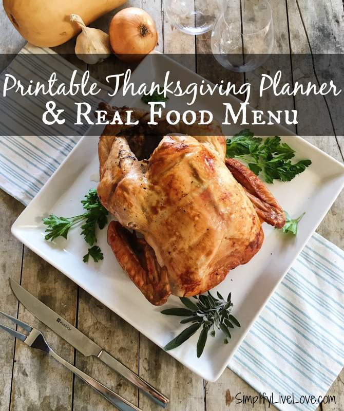 printable thanksgiving planner to help you remember all the important details when you're hosting Thanksgiving! Plus, a sample real food menu for menu inspiration.