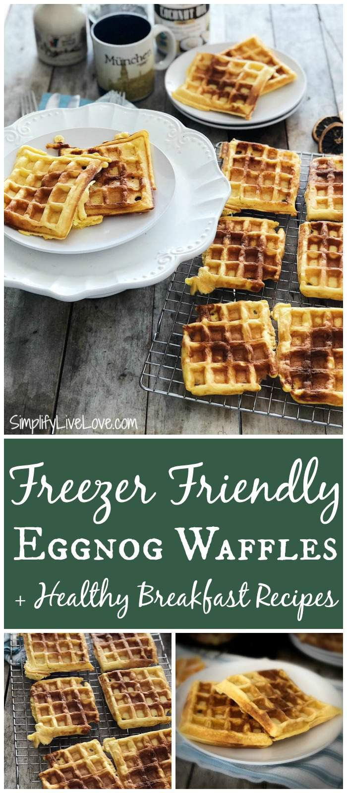 Enjoy these healthy breakfast recipes including eggnog waffles made w/ Barlean's organic culinary coconut oil. What a great way to use up leftover eggnog! #freezerfriendlyrecipes #eggnog #waffles #healthybreakfastrecipes