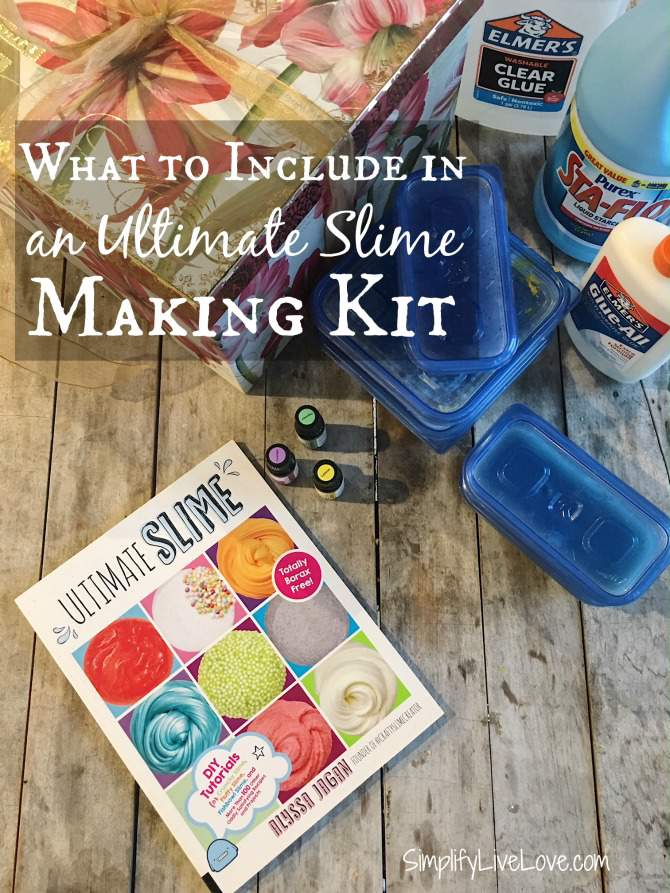Wondering what to include in a Homemade Slime Making Kit? It's easy to make this last-minute gift perfect w/ the Ultimate Slime book + many fun ingredients!