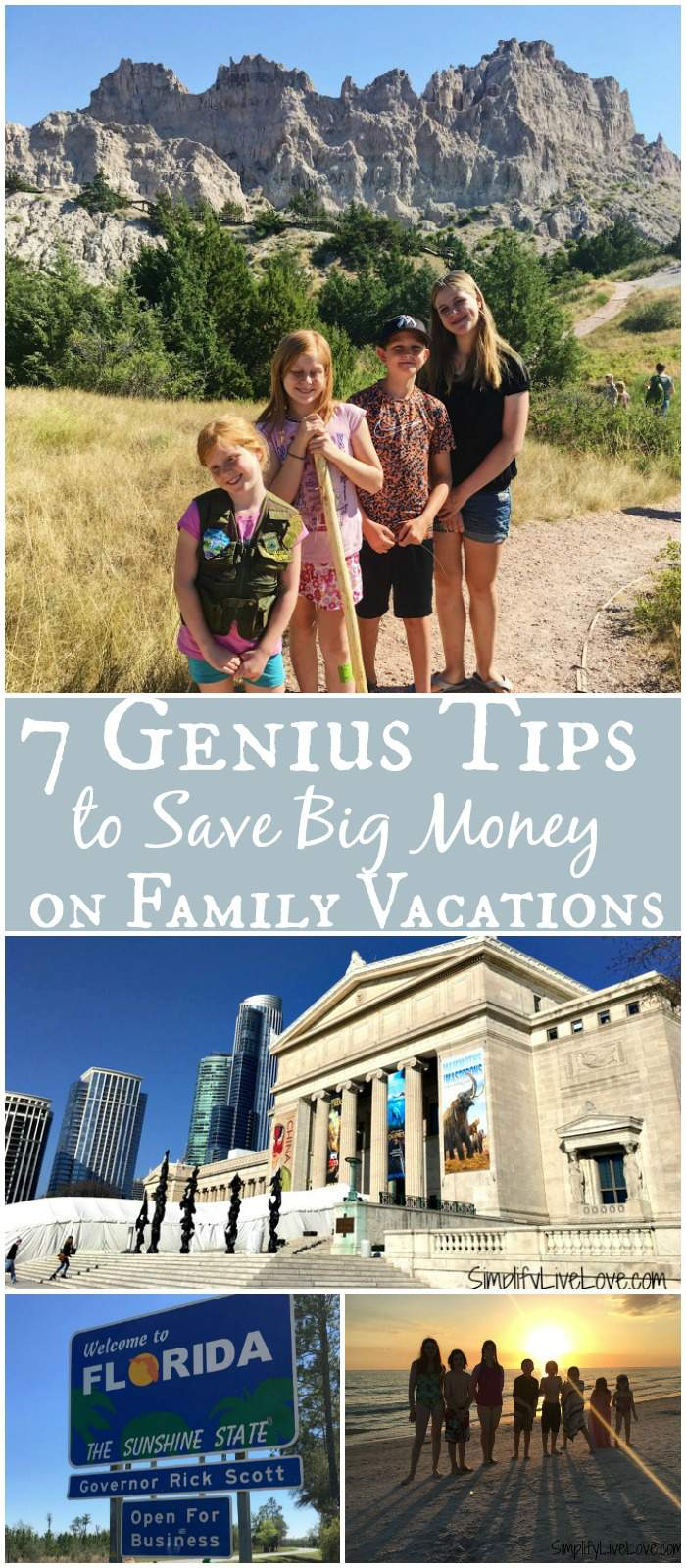 Want to travel but afraid of the cost? These 7 genius tips will help you save big money on family vacations so you can travel more on less money! #familytravel #travel #moneysavingtips