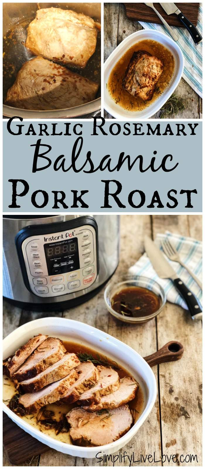 Made with balsamic vinegar and plenty of fresh garlic and rosemary, this instant pot pork roast is really tasty! Grab this easy pressure cooker pork roast recipe and add it to your next meal plan!