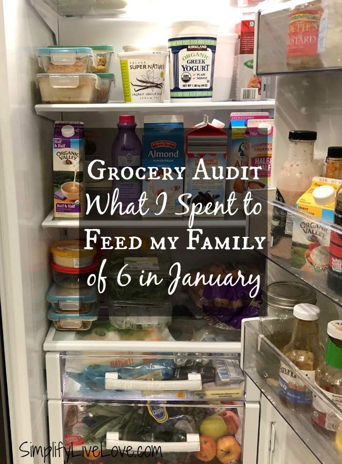 How does your grocery budget compare to the USDA Cost of Food at Home at Four Levels? Here's my January grocery audit for my family of six, to help us establish a family of 6 grocery budget. #grocerybudget #groceryaudit #USDAcostofgroceries