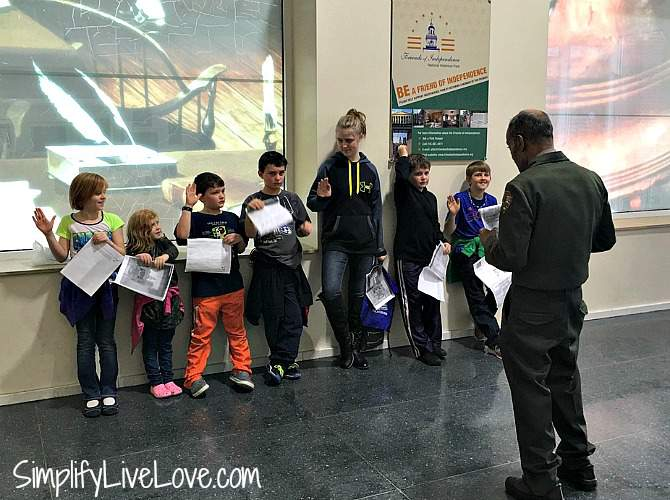 Earning junior ranger badges in Independence Visitor's Center Philadelphia