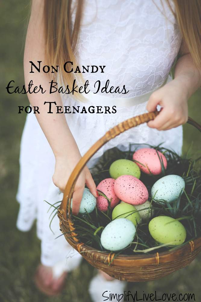 Girl with Easter Basket Non Candy Easter Basket Ideas for Teenagers