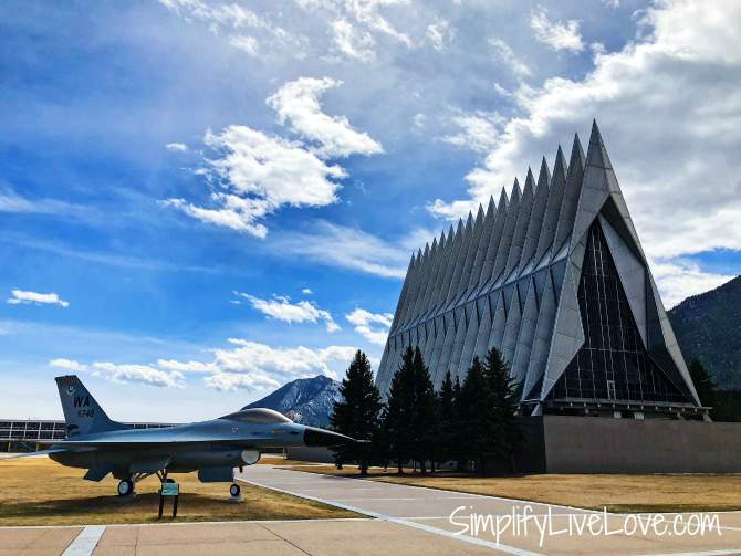 Air Force Academy Chapel and fighter jet