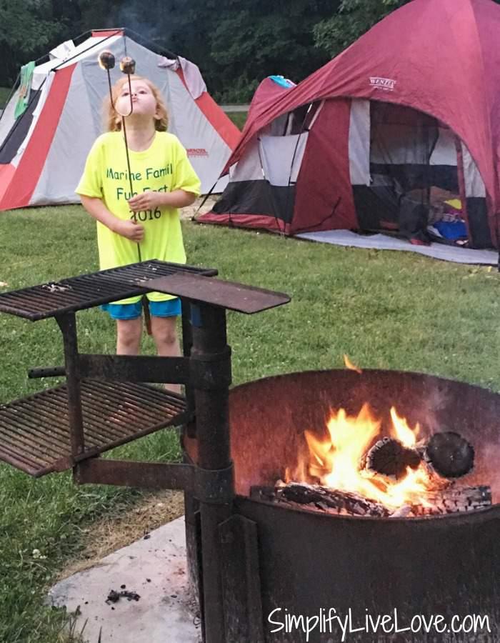 Campfire at a campsite