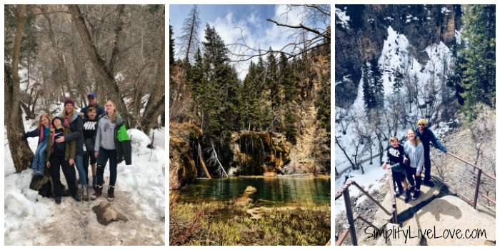 Collage at Hanging Lake hike in Glenwood Canyon Colorado