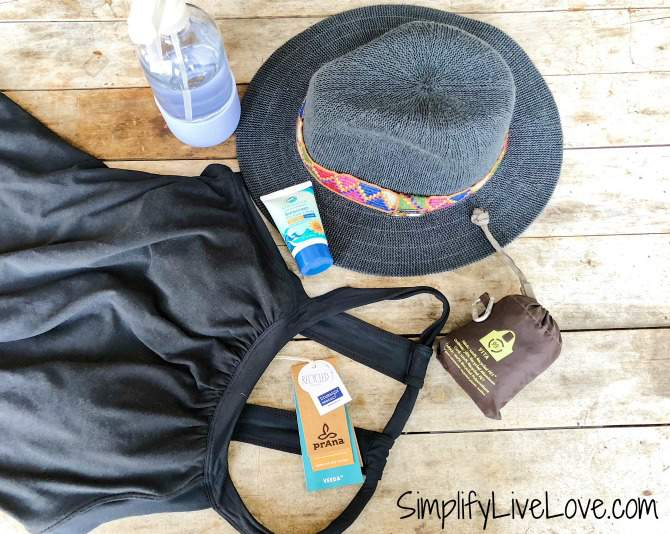 prAna hat & dress, coral safe sunscreen, reusable bag
