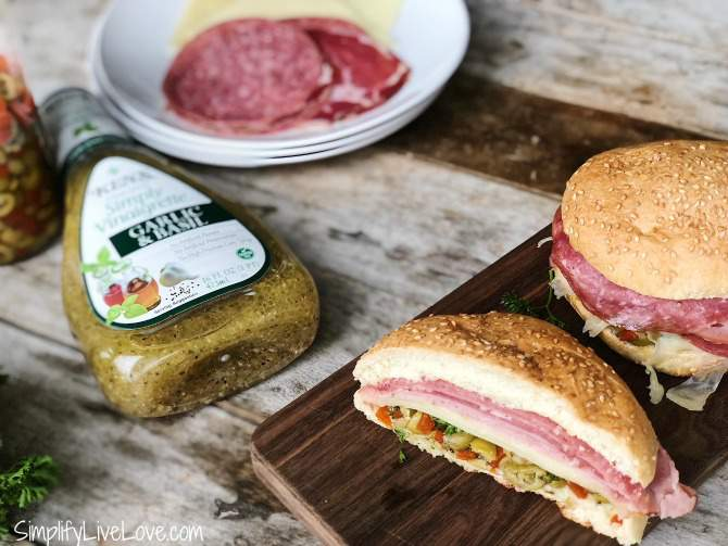Muffuletta Sandwich made with Ken's Simplfy Vinaigrette