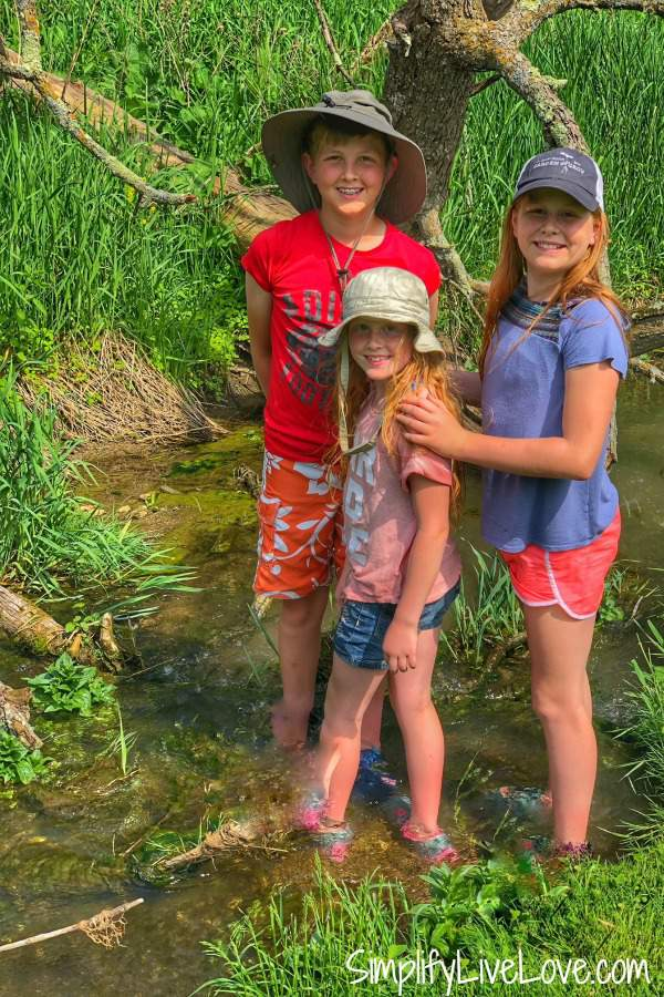 hiking with kids in streams