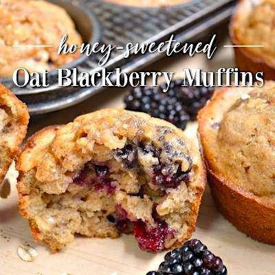 honey sweetened blackberry muffins