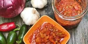 zesty homemade salsa and ingredients