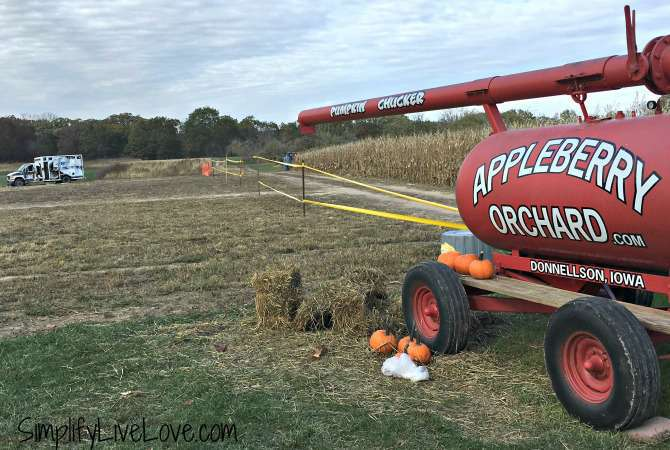 pumpkin chucker at Appleberry Orchard in Donnellson Iowa