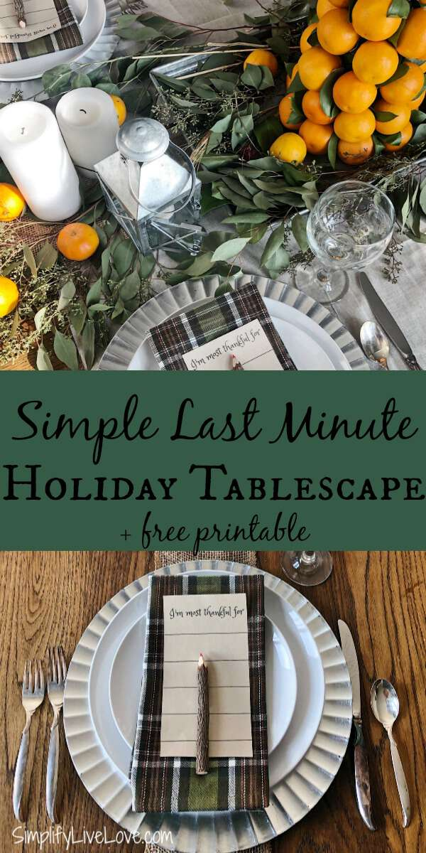 simple last minute holiday tablescape