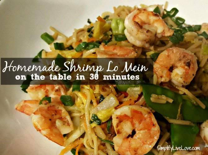 Easy Shrimp Lo Mein Recipe - on the table in 30 minutes!