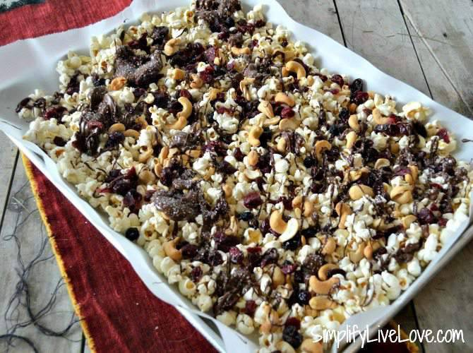 Trail Mix Popcorn with Dried Berries, Nuts & Chocolate