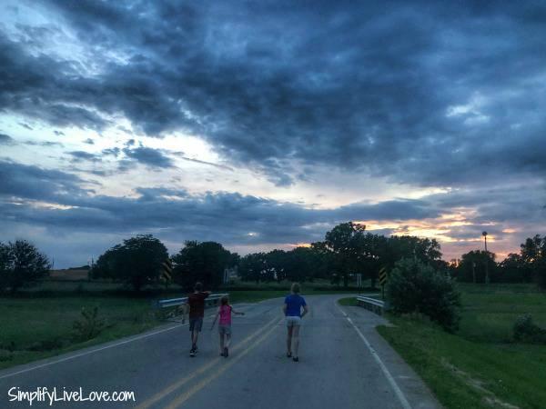 kids walking down the road at rock creek marina