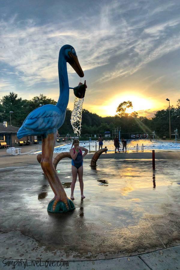 sunset over scott county park pool