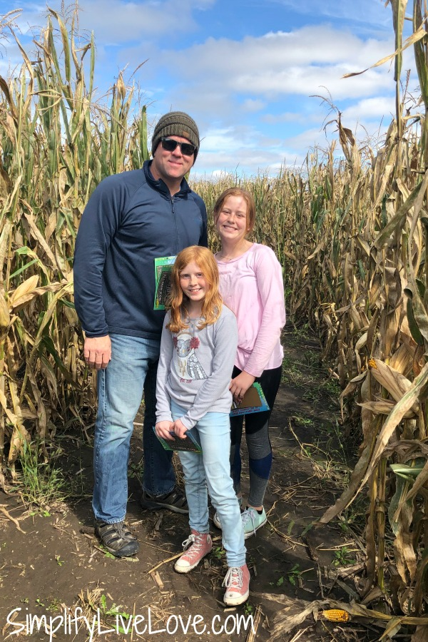 inside the corn maze at the pumpkin ranch