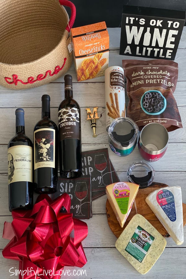 items for wine and cheese gift baskets